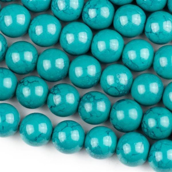 Glass 12mm Dark Turquoise Round - approx. 8 inch strand