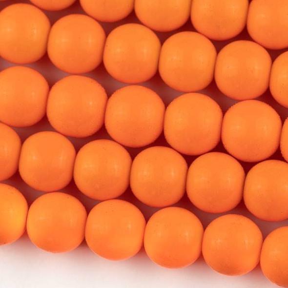 Glass 12mm Tangerine Orange Round - approx. 8 inch strand