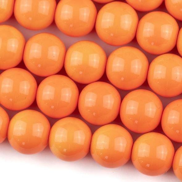 Glass 12mm Mango Orange Round - approx. 8 inch strand