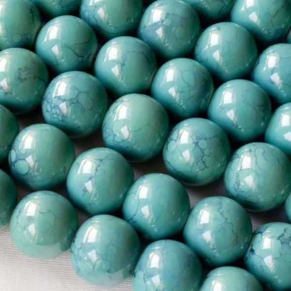 Glass 12mm Turquoise Round - approx. 8 inch strand