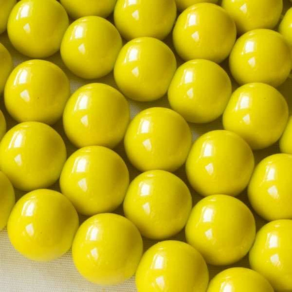 Glass 12mm Yellow Round - approx. 8 inch strand