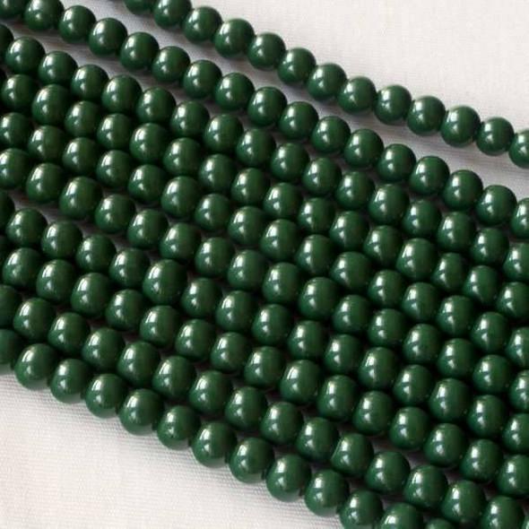 Glass 4mm Dark Green Round - approx. 8 inch strand