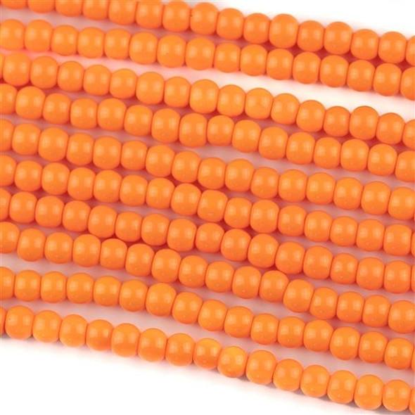 Glass 4mm Mango Orange Round - approx. 8 inch strand