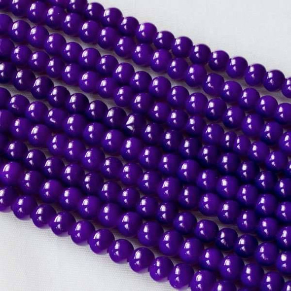 Glass 4mm Purple Round - approx. 8 inch strand