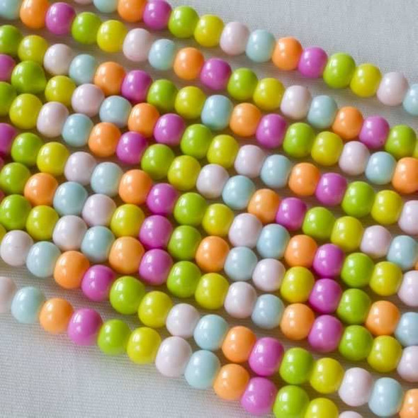 Glass 4mm Rainbow Mixed Rounds - approx. 8 inch strand