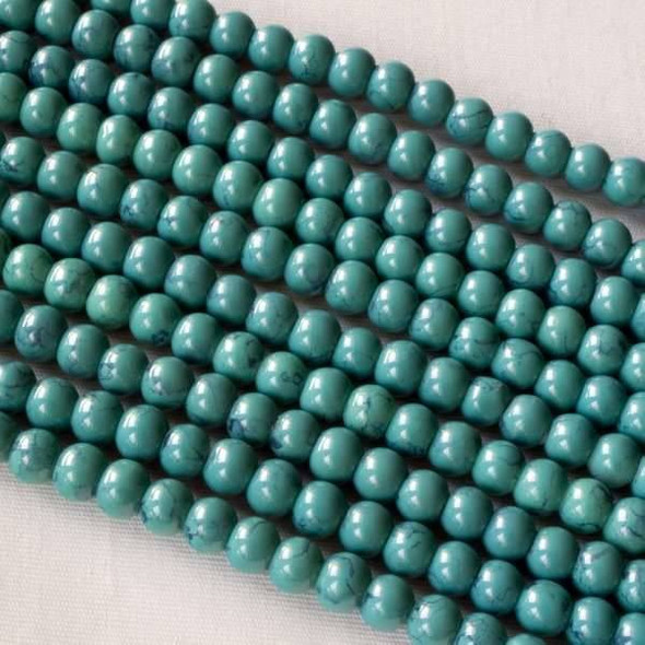 Glass 4mm Turquoise Round - approx. 8 inch strand