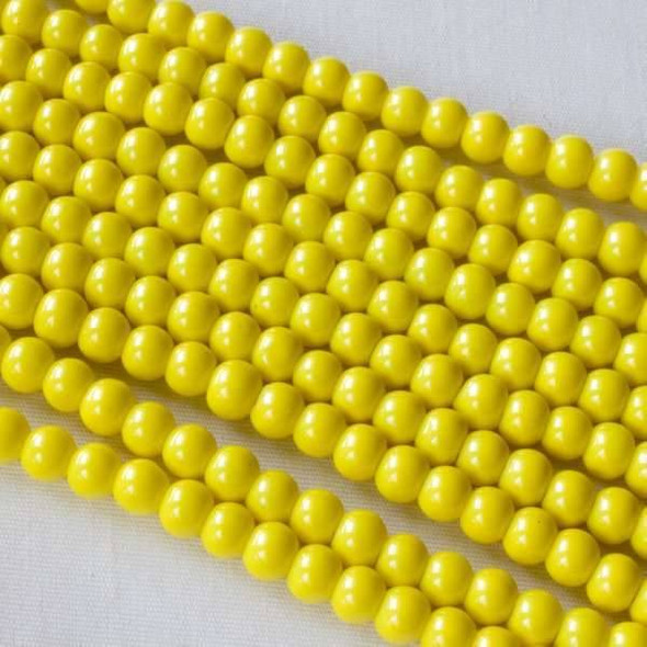 Glass 4mm Yellow Round Beads - approx. 8 inch strand