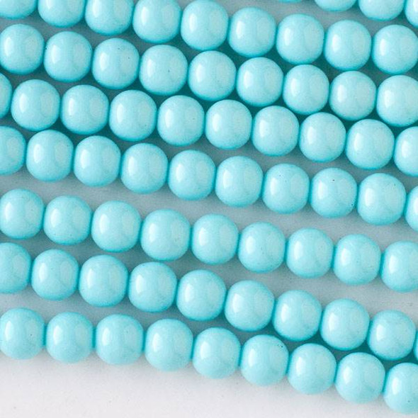 Glass 6mm Baby Blue Round - approx. 8 inch strand