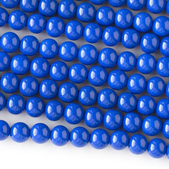 Glass 6mm Cobalt Blue Round - approx. 8 inch strand