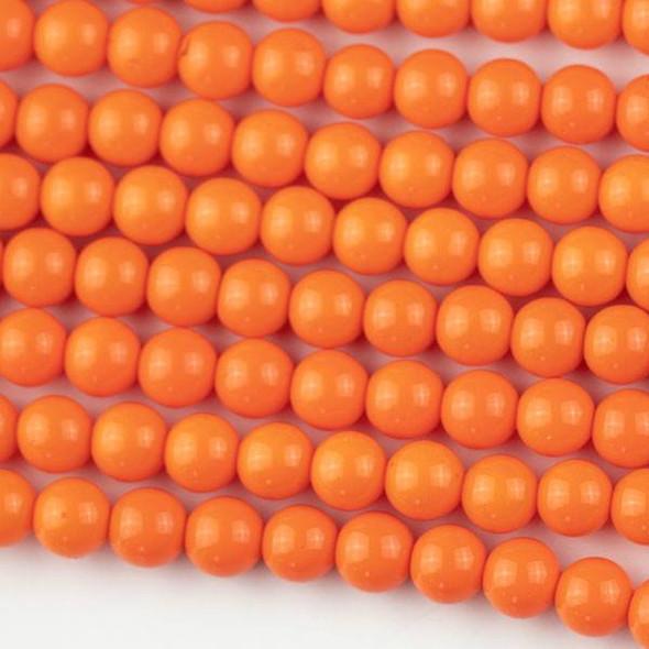 Glass 6mm Dark Mango Orange Round - approx. 8 inch strand