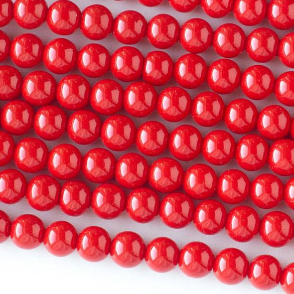 Glass 6mm Red Round - approx. 8 inch strand