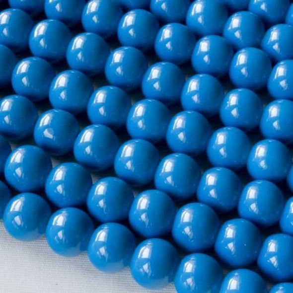 Glass 8mm Blue Round - approx. 8 inch strand