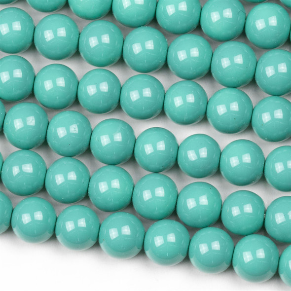 Glass 8mm Light Turquoise Round Beads - approx. 8 inch strand