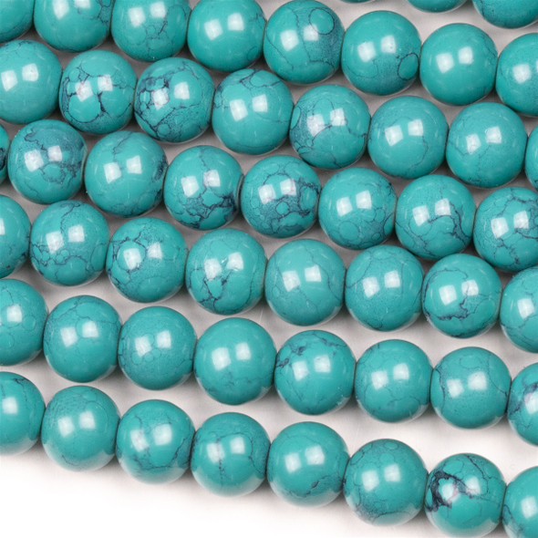 Glass 8mm Turquoise Round - approx. 8 inch strand