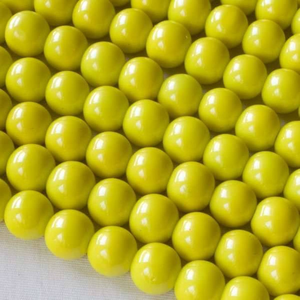 Glass 8mm Yellow Round - approx. 8 inch strand