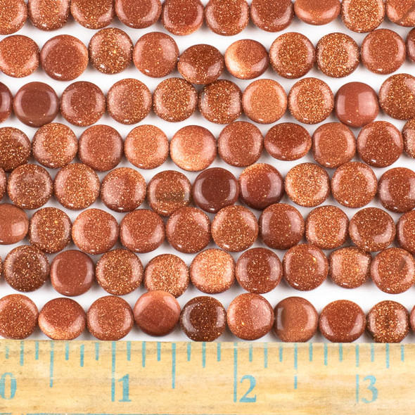 Goldstone 10mm Coin Beads - approx. 8 inch strand, Set A