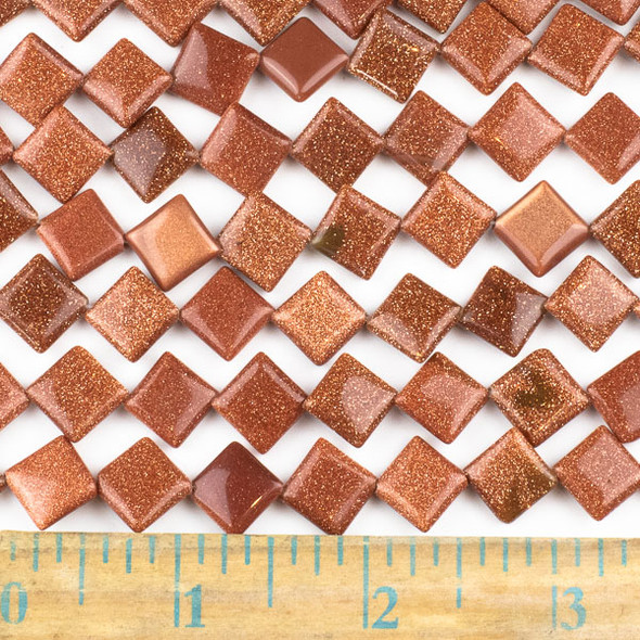 Goldstone 10mm Diagonal Drilled Square Beads - approx. 8 inch strand, Set A