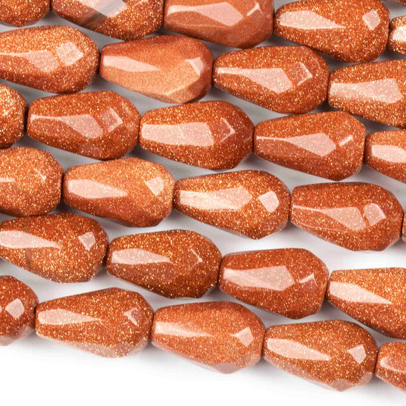 Goldstone 8x12mm Faceted Rounded Teardrop Beads - approx. 8 inch strand, Set B