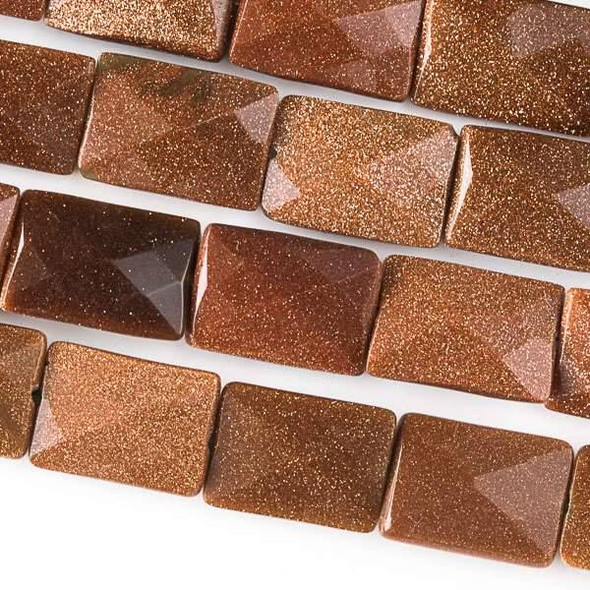 Goldstone 10x14mm Faceted Rectangle Beads - approx. 8 inch strand, Set B