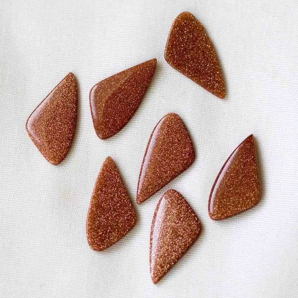 6 Goldstone 9x18mm Free Form Cabochons