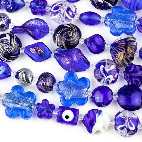 Mixed Handmade Lampwork Glass Strand - Cobalt Blue Mix