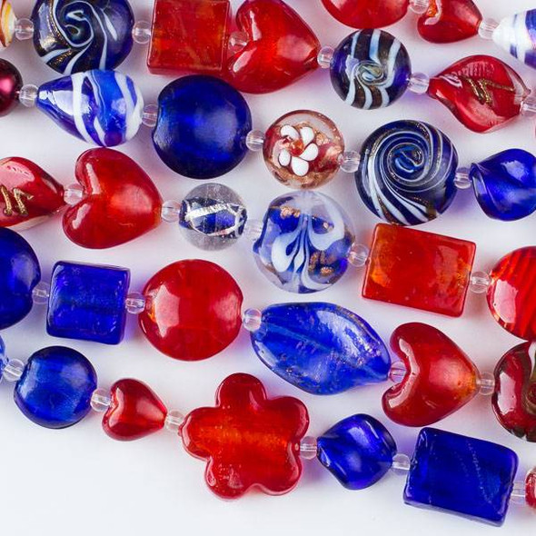Mixed Handmade Lampwork Glass Strand - Red and Blue Mix