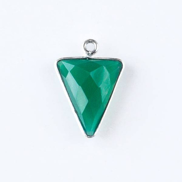 Green Onyx 14x20mm Triangle Drop with a Silver Plated Brass Bezel