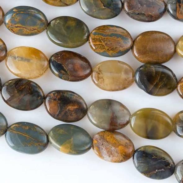 Golden Pietersite 10x14mm Puff Ovals - approx. 8 inch strand
