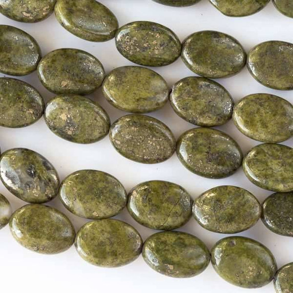 Moss Green Pyrite 10x14mm Puff Ovals - 15 inch strand