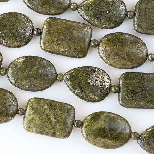 Moss Green Pyrite 18x25mm Oval, Rectangle, and Teardrop Beads alternating with 4mm Rounds - 16 inch strand