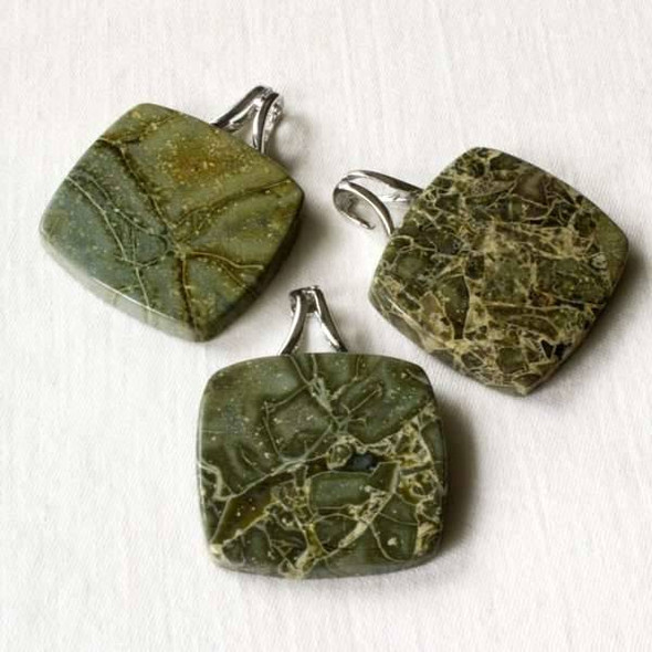 Australian Green Lace Jasper 28x35mm Pendant with a silver bail