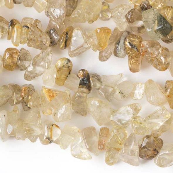 "Gold Rutilated Quartz 5-8mm Chip Beads - 34"" circular strand"