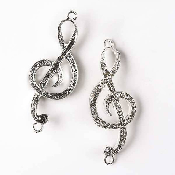 Pave 19x50mm Silver Pewter Treble Cleft Music Link with Crystals - 3 per bag