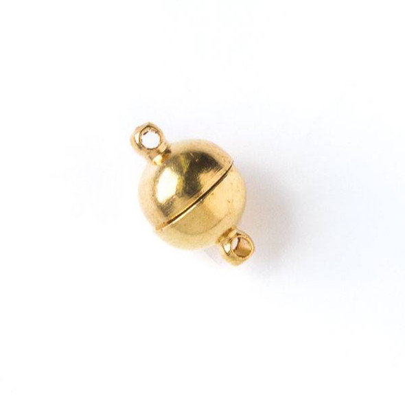 Gold Pewter 8x12mm Magnetic Smooth Round Clasp - 2 clasps per bag - baseaHD006bg