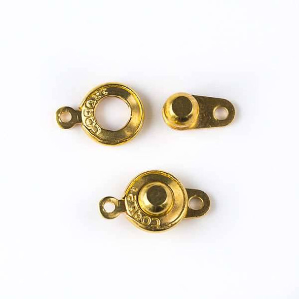 Gold Colored Pewter 9x15mm Ball and Socket Clasp - 4 per bag - HD016lgg