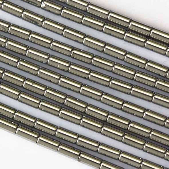 Hematite 2x4mm Plated Silver Tube Beads - 16 inch strand