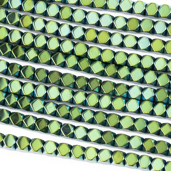 Hematite 3mm Electroplated Green Faceted Cube Beads - 8 inch strand