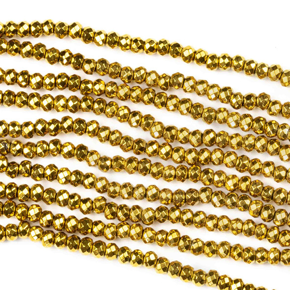 Hematite 2x3mm Electroplated Gold Faceted Rondelle - 8 inch strand