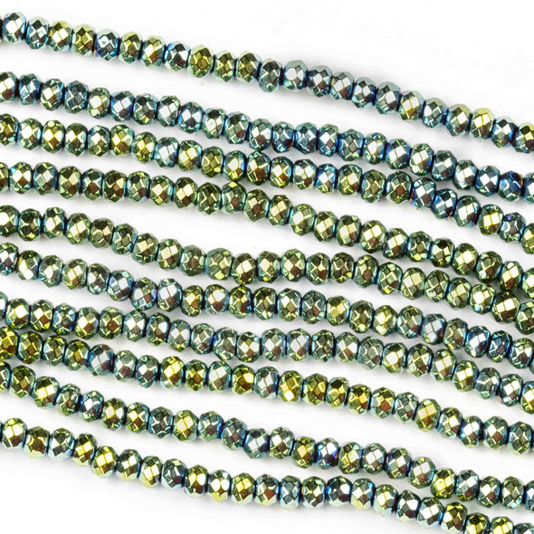 Hematite 2x3mm Electroplated Green Faceted Rondelle - 8 inch strand