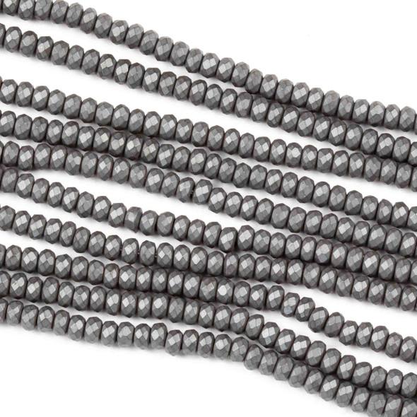 Hematite 2x3mm Matte Faceted Rondelle - 8 inch strand
