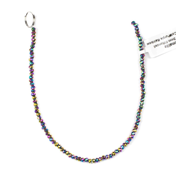 Hematite 2x3mm Electroplated Purple Rainbow Faceted Rondelle - approx. 8 inch strand