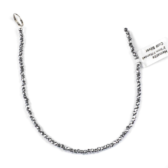Hematite 2x3mm Plated Silver Faceted Rondelle Beads - approx. 8 inch strand