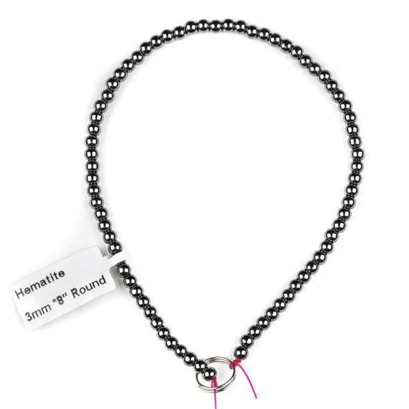 Hematite 3mm Round Beads - approx. 8 inch strand