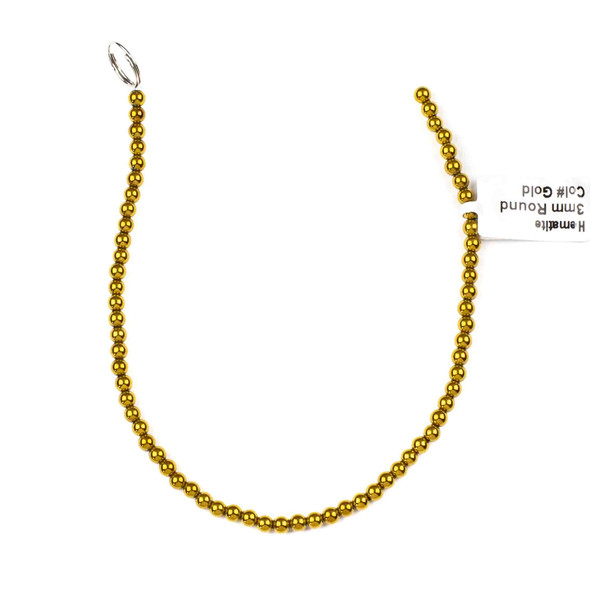 Hematite 3mm Electroplated Gold Round Beads - approx. 8 inch strand