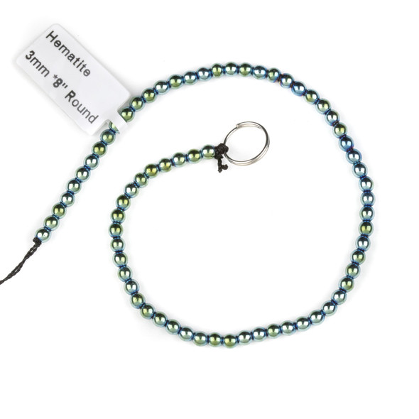 Hematite 3mm Electroplated Green Round Beads - approx. 8 inch strand