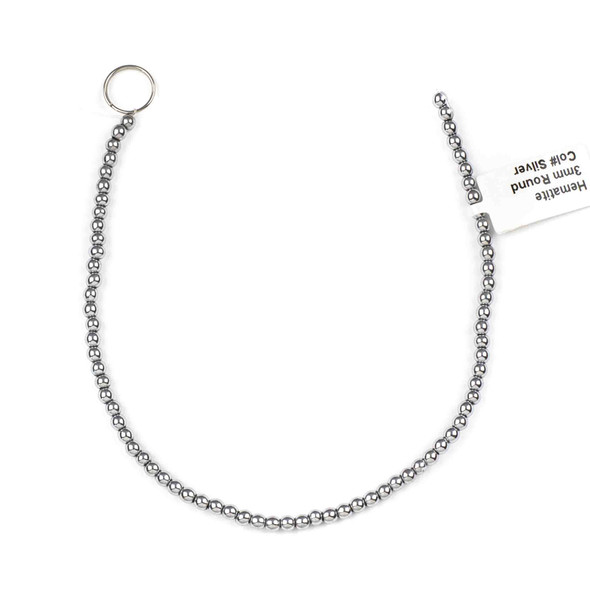 Hematite 3mm Plated Silver Round Beads - approx. 8 inch strand