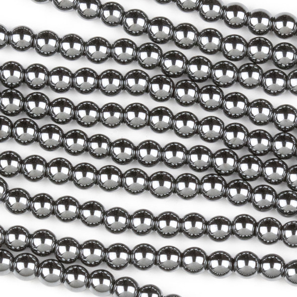 Hematite 4mm Round Beads - 8 inch strand