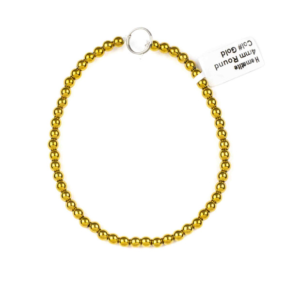 Hematite 4mm Electroplated Gold Round Beads - approx. 8 inch strand