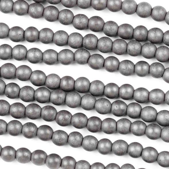 Hematite 4mm Matte Round Beads - 8 inch strand