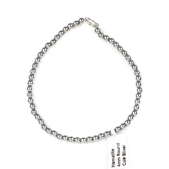 Hematite 4mm Plated Silver Round Beads - 8 inch strand